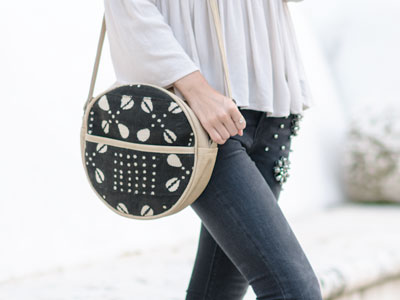 Mud Cloth Round Bag