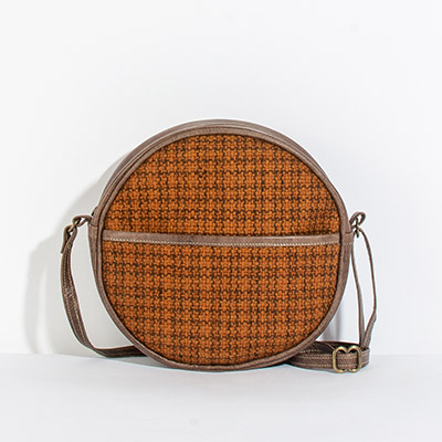 Monaco Circle Bag - amber crosshatch