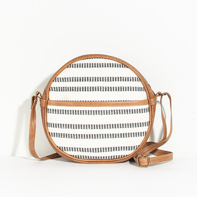 Monaco Circle Bag - indigo stripes