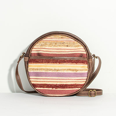 Monaco Circle Bag - muted jewel stripe