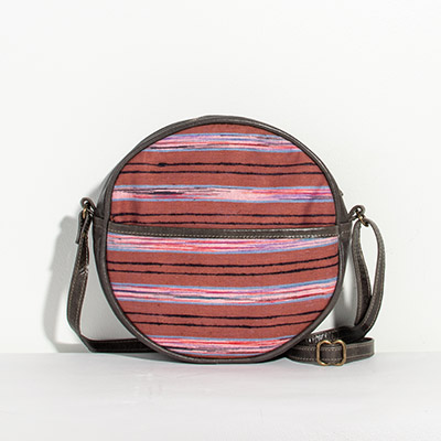 Monaco Circle Bag - purple stripe