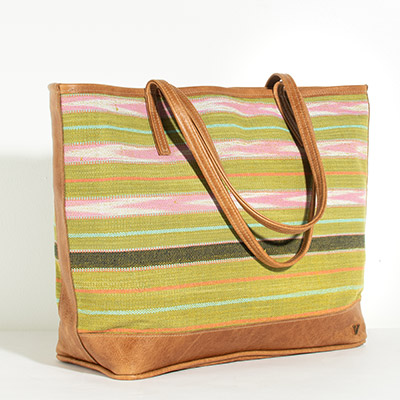 Vienna Tote - olive stripes