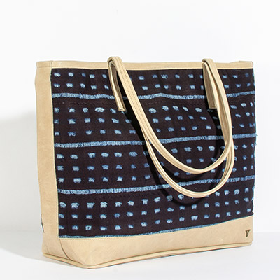 Vienna Tote - spotted navy