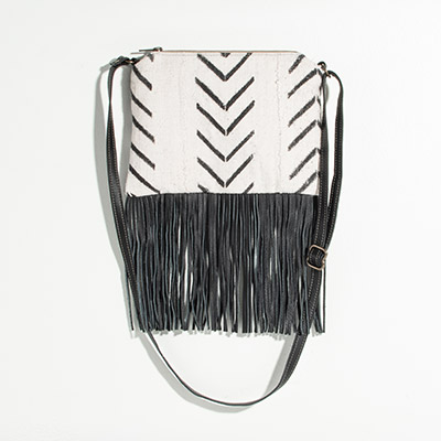 Florence Crossbody Clutch - natural chevron mudcloth