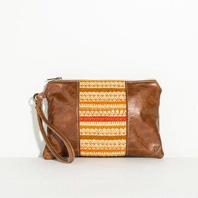 Newport Clutch - autumn stripe