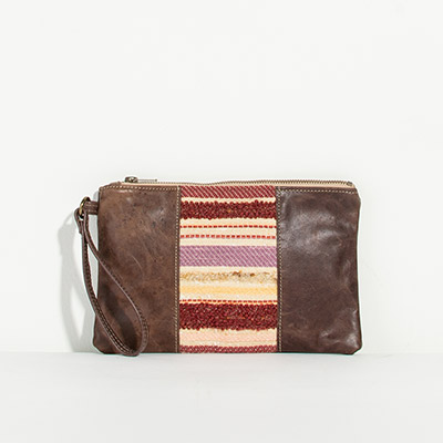 Newport Clutch - muted jewel stripe