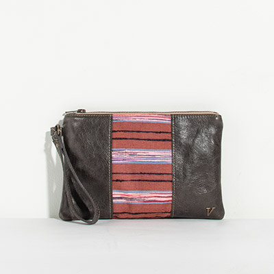 Newport Clutch - purple stripe