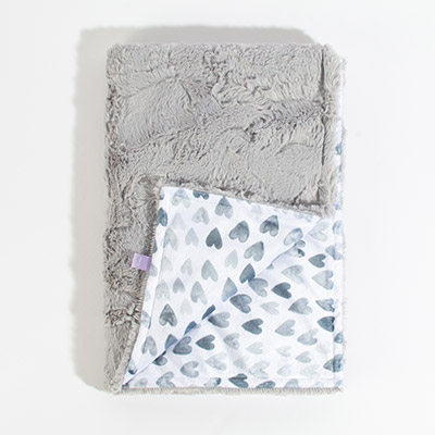 Dreamy Baby Blanket - silver hearts