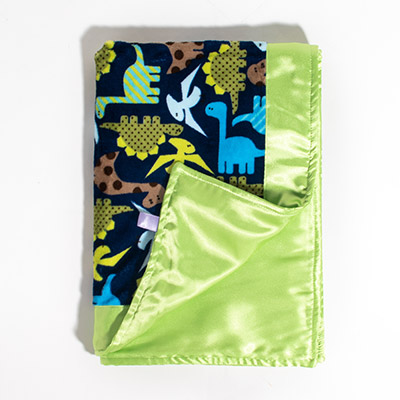 Dreamy Blanket with Trim - midnight dino/lime satin
