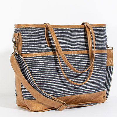 Montauk Diaper Bag - navy lines