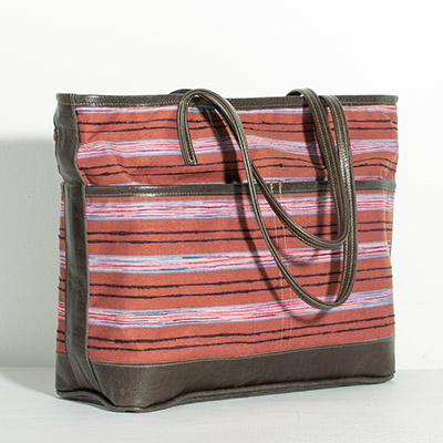 Montauk Diaper Bag - purple stripe