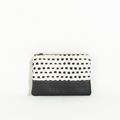Tybee Pouch - checkered lines