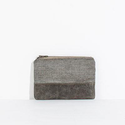 Tybee Pouch - charcoal metallic