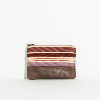 Tybee Pouch - muted jewel stripe