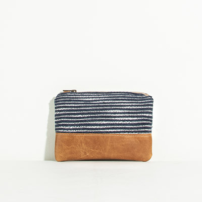 Tybee Pouch - navy lines