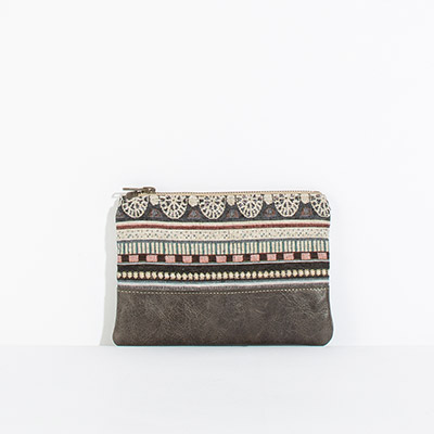 Tybee Pouch - navy tribal