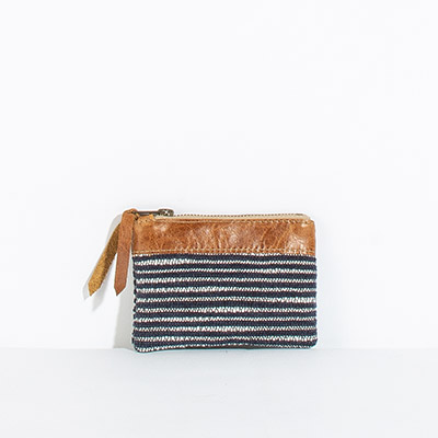 Corsica Coin Pouch - navy lines